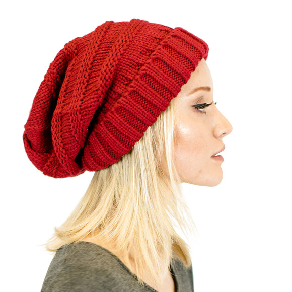 d757d452d71886 C.C Accessories | Unisex Knit Oversized Slouchy Beanie In Red | Poshmark
